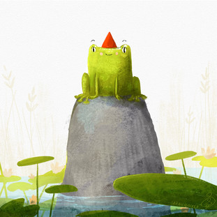 Lilly Pad Frog Illustration
