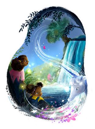 Mystical Falls Magic Waterfall Illustration