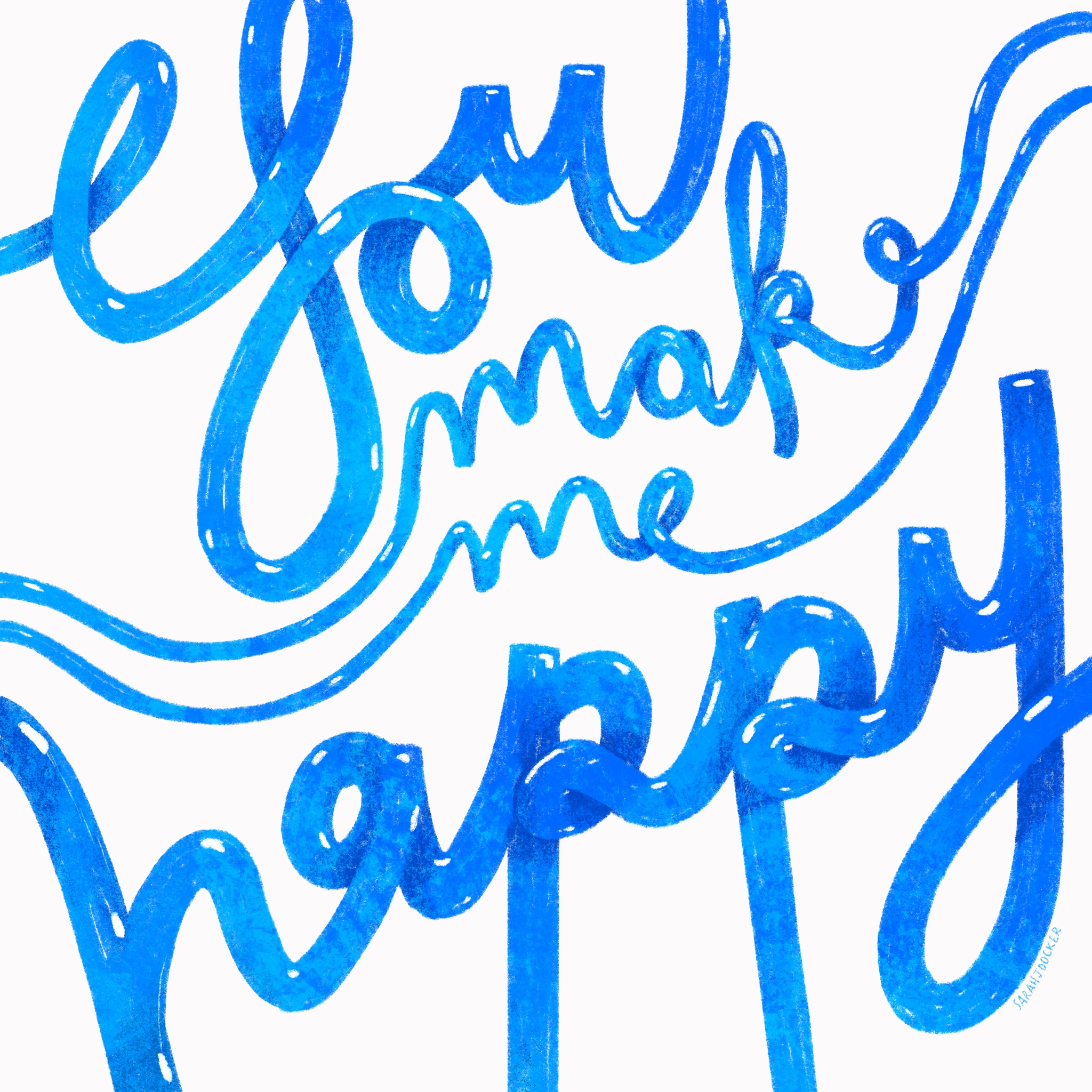 Happy Bubble Lettering
