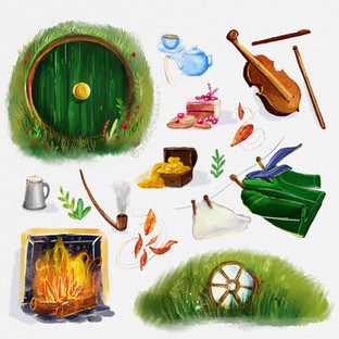 The Hobbit Chapter 1 Spot illustrations