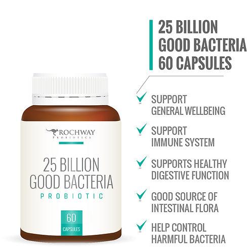 Rochway 25 Billion Good Bacteria Probiotic (60 Capsules)