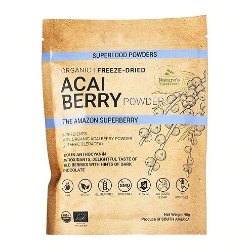 Nature's Superfoods Organic Raw ACAI Berry Powder, Freeze-Dried (90g)