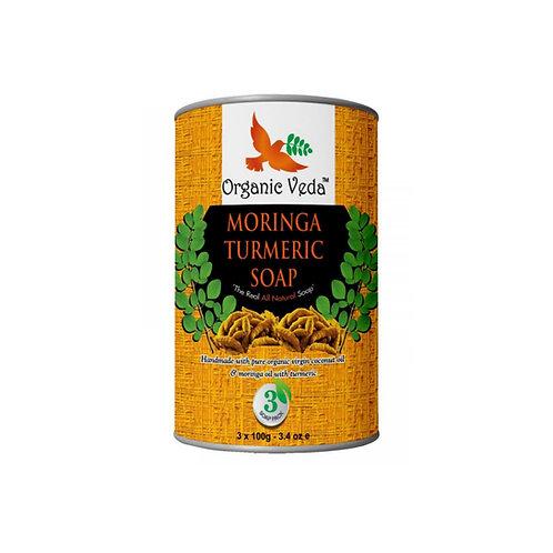 Organic Veda Moringa Turmeric Soap (3 Soap Pack- 3x100g)