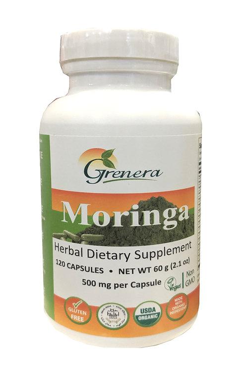 Grenera Moringa Leaf Powder Capsules (120 Capsules)