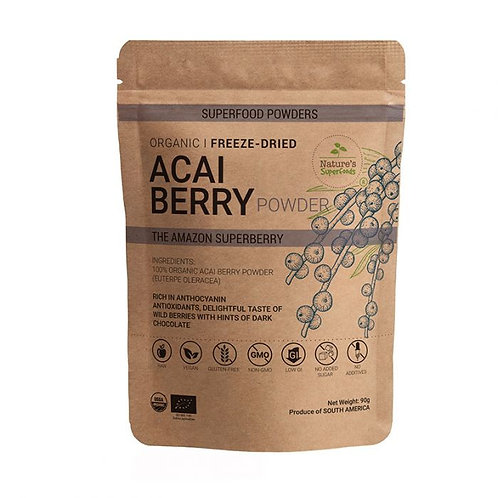 Nature's Superfoods Organic Raw ACAI Berry Powder, Freeze-Dried (90g)