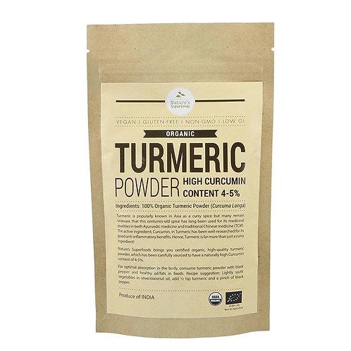 Nature's Superfoods Organic TURMERIC Powder (Higher Curcumin) (100g)