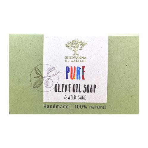 Sindyanna of Galilee Pure Olive Oil Soap, Sage (100g)