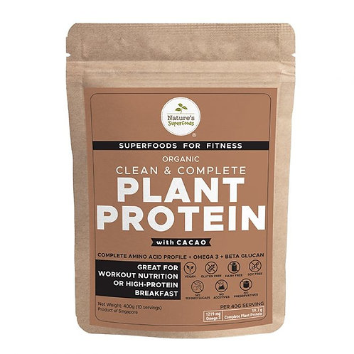 Nature's Superfoods Organic Plant Protein Powder (with Cacao) 400g