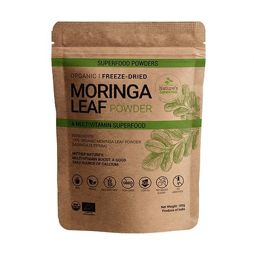 Nature's Superfoods Organic Raw MORINGA Leaf Powder, Freeze-Dried (100g)