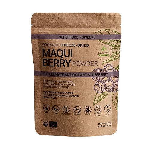 Nature's Superfoods Organic Raw MAQUI Berry Powder, Freeze-Dried (75g)