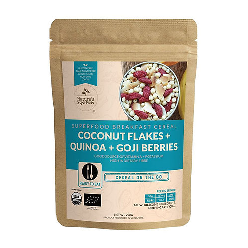 Nature's Superfoods Organic Coconut Flakes - Quinoa - Goji Berries Cereal (290g)