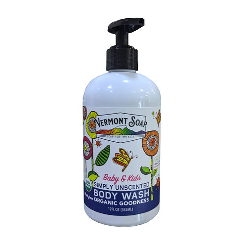 Vermont Soap Baby and Kids Simply Uncented Body Wash (355ml)