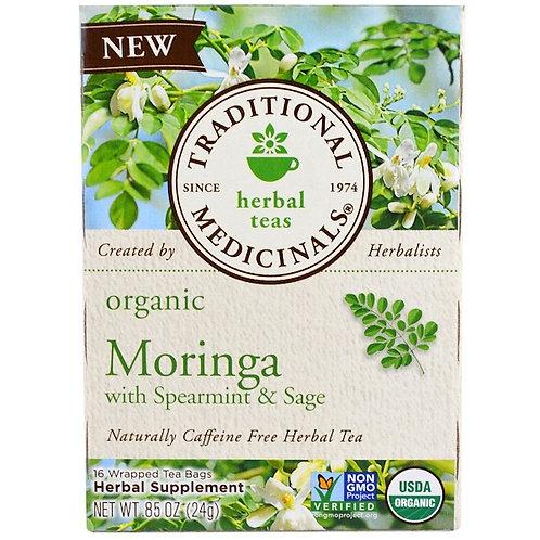 Traditional Medicinals, Organic Moringa with Spearmint & Sage , (16 Sachets)