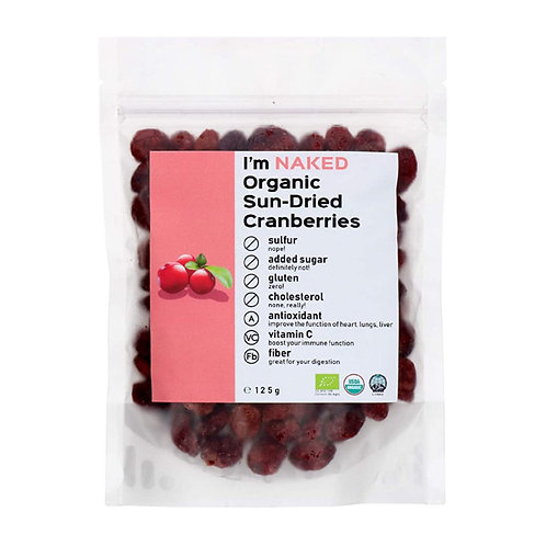 Naked Organic Sun-Dried Cranberries, 125g