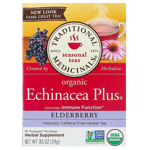 Traditional Medicinals, Organic Echinacea Plus, Elderberry Tea (16 Sachets)