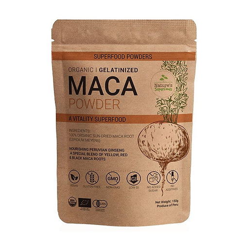 Nature's Superfoods Organic Gelatinized MACA Root Powder (150g)