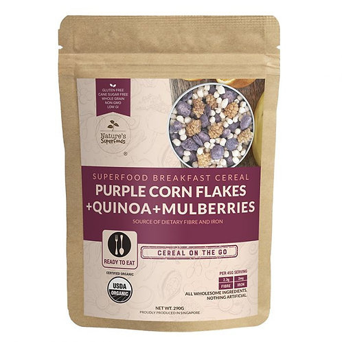 Nature's Superfoods Breakfast Cereal [Purple Corn Flakes Quinoa Mulberries] 290g
