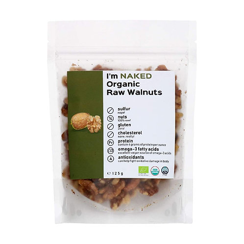 Naked Organic Raw Walnuts, 125g