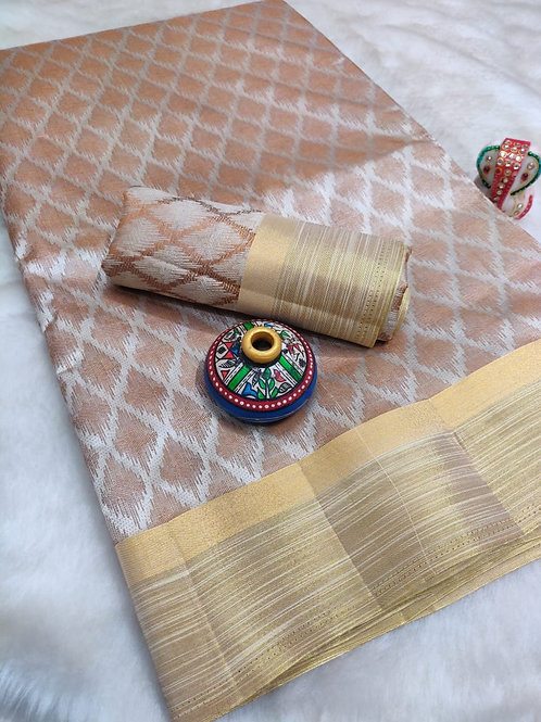 Rich Copper Tussar Silk (White)