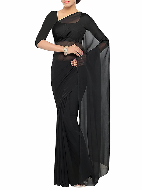 Plain Black Georgette Saree (SOH003)