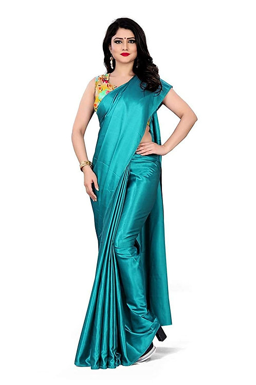 Teal Green Plain Satin Saree (SOH004)