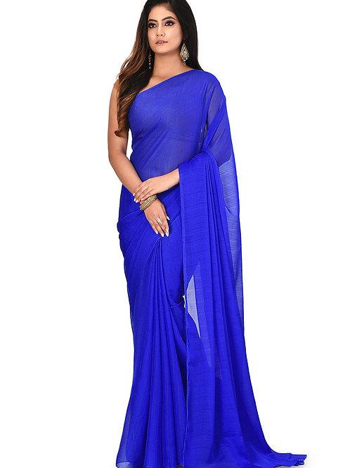 Plain Royal Blue Georgette Saree (SOH006)