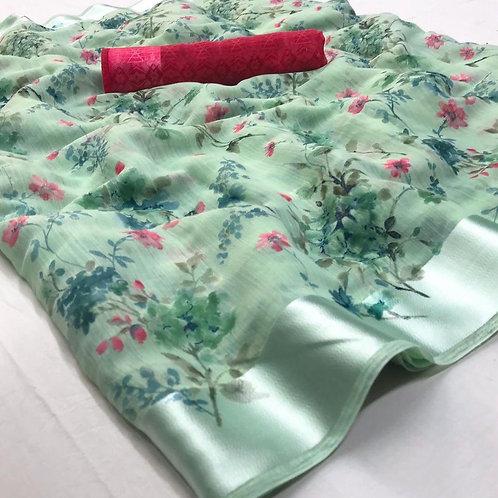 Light Green Soft Linen Saree (SOH008)