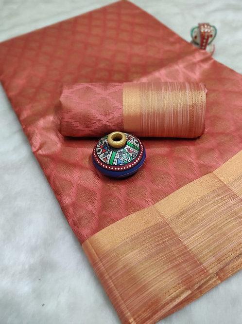 Rich Copper Tussar Silk (Peach)