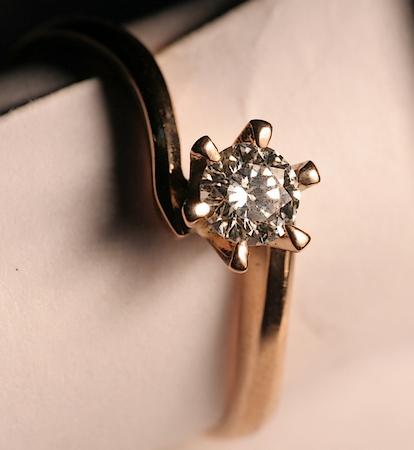 Bague, or rose, diamant