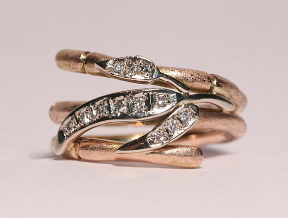 Bague, or rose, diamants