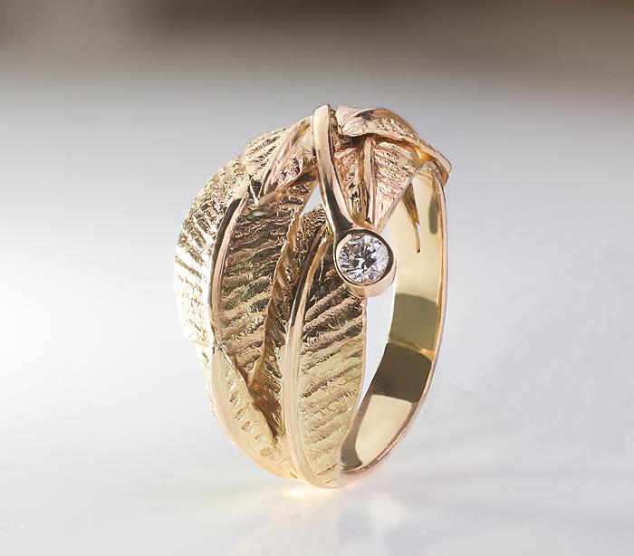 Bague, or jaune, diamant