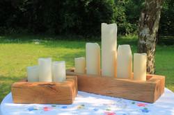 wooden candle block centre pieces