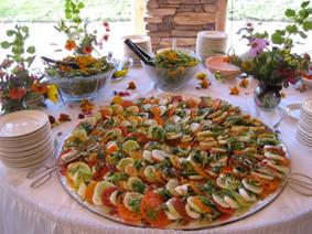 heirloom cucumber caprese platter