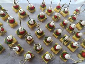 hempseed pesto caprese polenta skewers