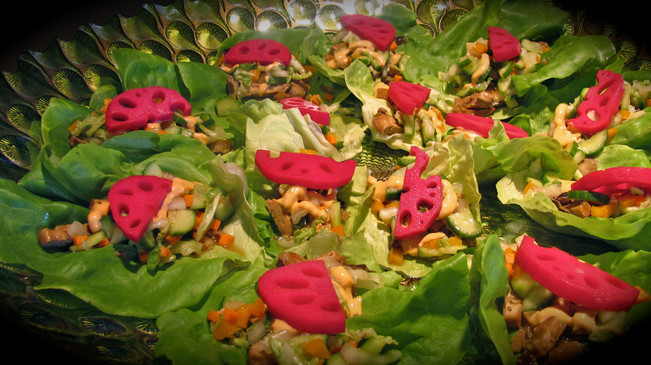 asian lettuce tacos with pickled lotus