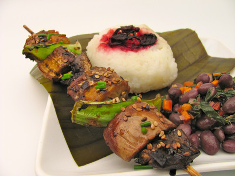 vegan hibiscus sticky rice plate