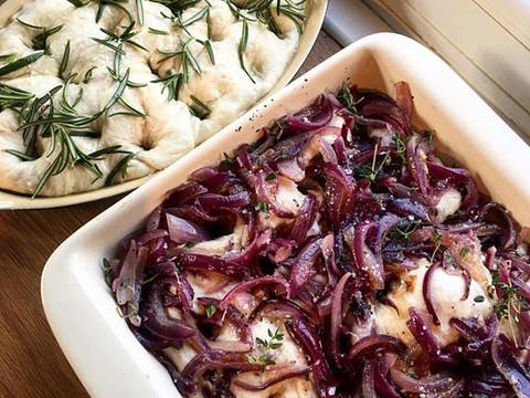 Caramlised onion focaccias