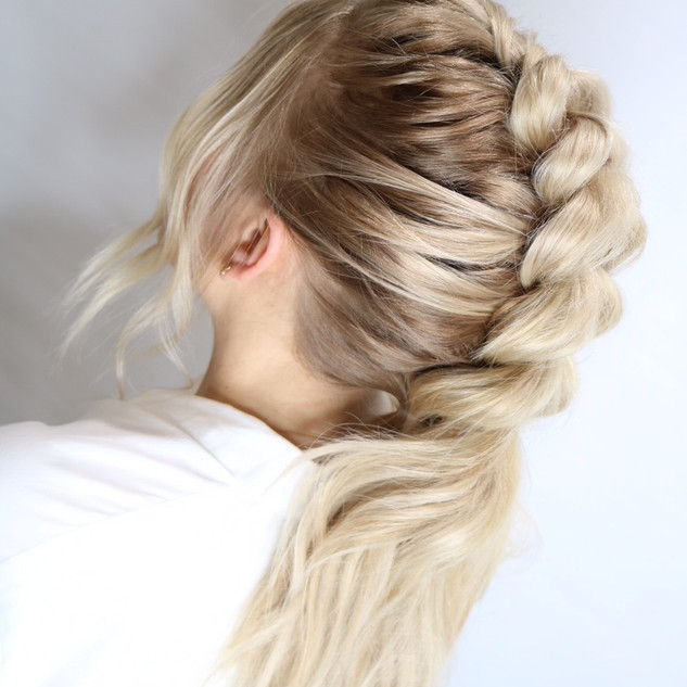 Natural Beaded Rows Hair Extensions updo