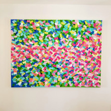 Pink confetti wishes painting by heather
