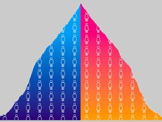Une pyramide des âges très large