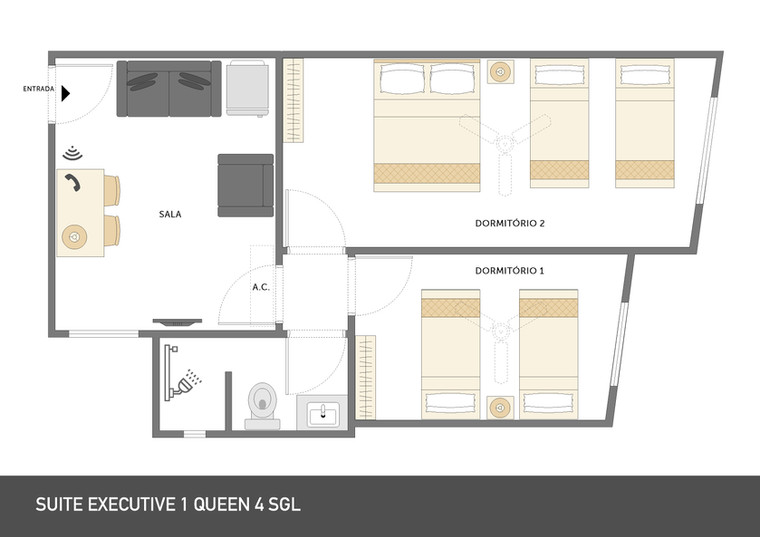 Planta Suite Executive | 1 queen 4 single
