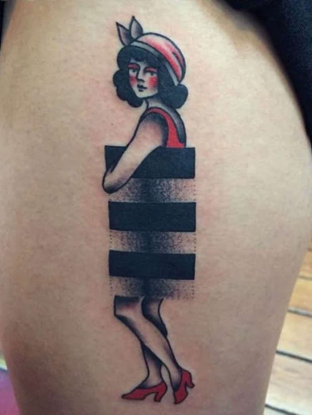 Vintage 20s Bathing Girl Tattoo