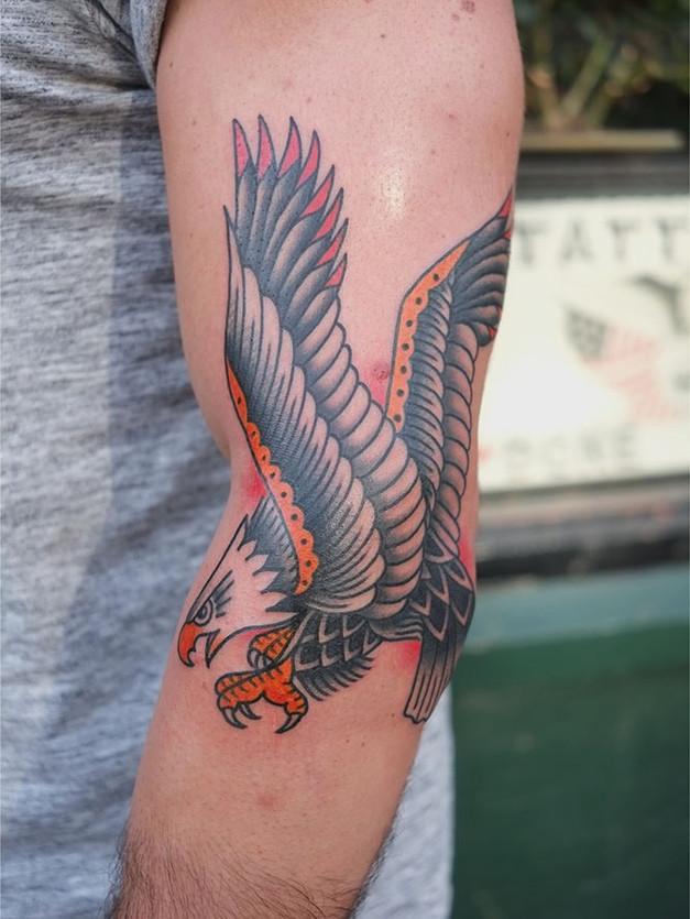 Color Traditional Eagle Tattoo