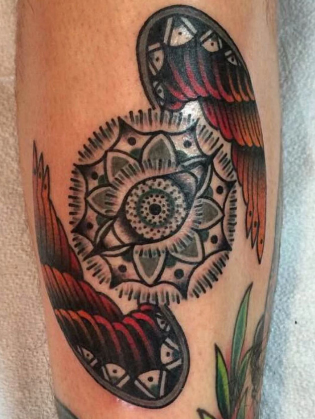 Mandala Psychedelic Tattoo with Wings