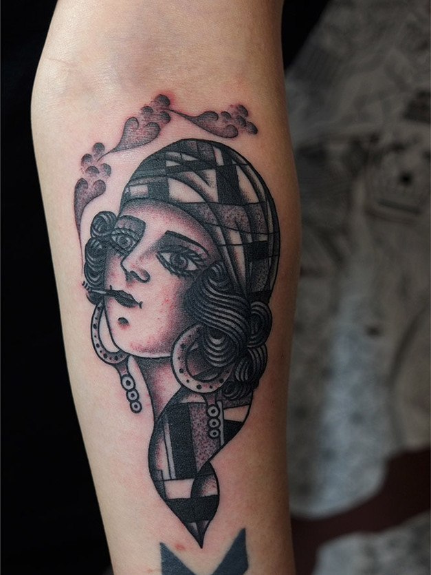 Black & Grey Female Face Tattoo