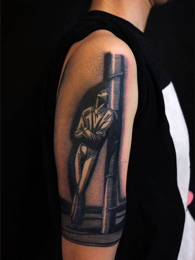 80s contrast black and grey tattoo