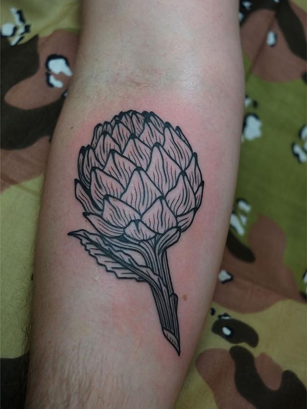 Black & grey artichoke vegetable tattoo