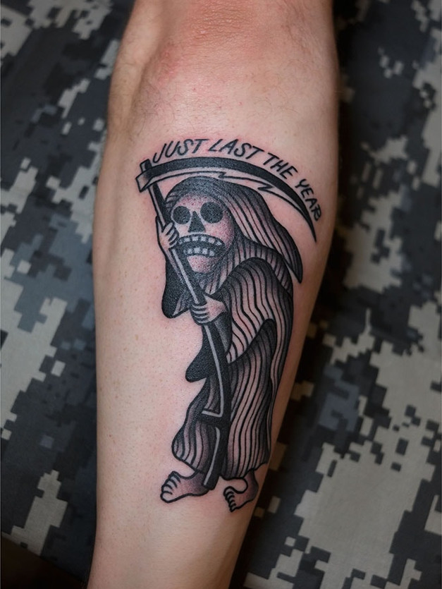 Death in stripes tattoo