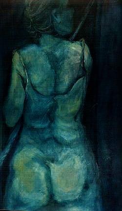 Mujer de Espalda con Lampazo en Azules