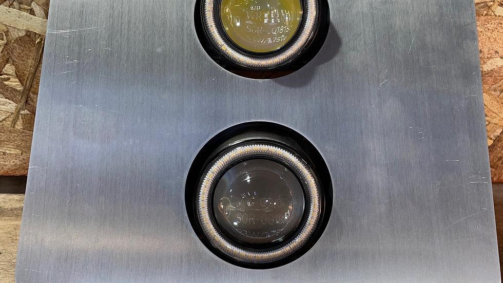 Kit plaque phare Flat Track optique LED double